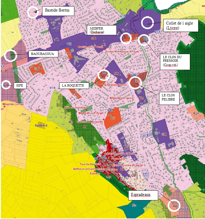 Plan montrant la localisation des projets de construction de logements sur Velaux